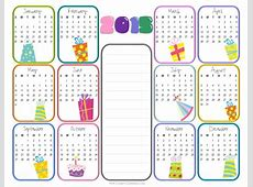 Yearly Birthday Calendar 2018 calendar printable
