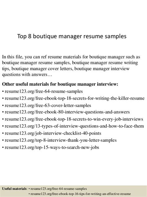 top 8 boutique manager resume sles