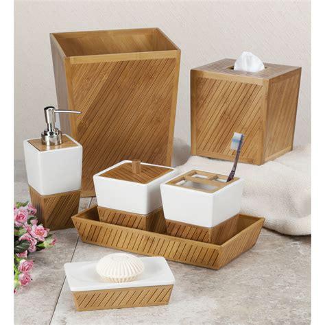badezimmer accessoires spa bamboo bath accessory collection ebay