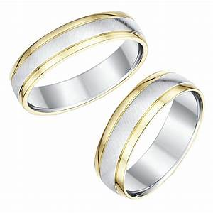 His hers 9ct yellow gold silver wedding rings 56mm for Silver gold wedding rings