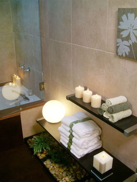 Spa Like Bathroom Decor by Use Low Floating Shelves To Display Candles And Towels
