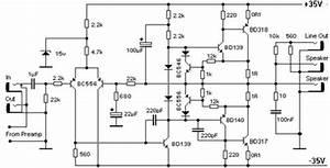 bd139 bd140 100w bipolar power amplfier electronic circuit With 100w power amp