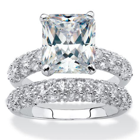 6 50 tcw emerald cut cubic zirconia platinum plated bridal engagement ring wedding band at