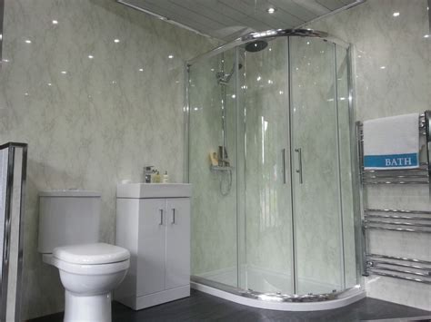 4 white marble bathroom cladding panels grey gloss