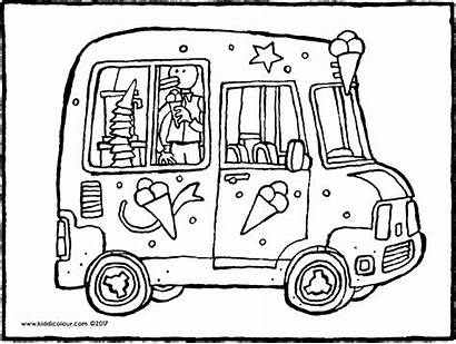 Van Ice Cream Colouring Transport Pages Colour