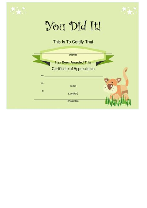 certificate green printable