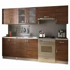 Cuisine équipée Solde : acheter meubles de cuisine quip e neufs en kit brun 2 4 m pas cher ~ Teatrodelosmanantiales.com Idées de Décoration