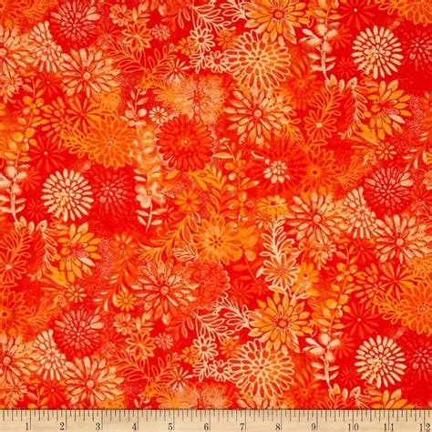 Floral Quilts by 44 Quot Wide Quilt Packed Floral Orange Fabric I