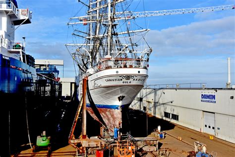 tall ship christian radich completes dry dock work
