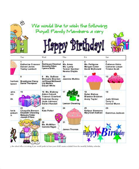 Family Birthday Calendar Template by Birthday Calendar 7 Free Word Pdf Psd Documents