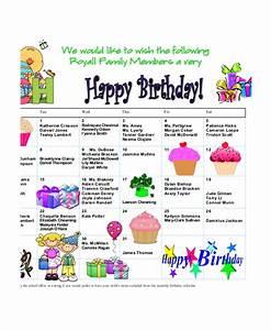birthday calendar 7 free word pdf psd documents With family birthday calendar template