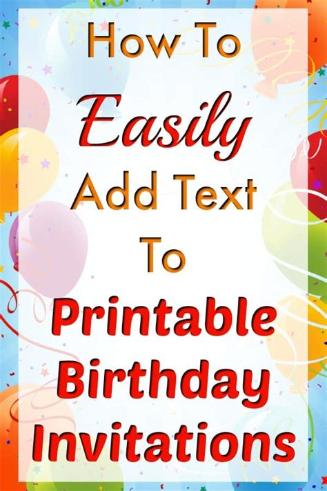 easily add text  birthday invitation templates
