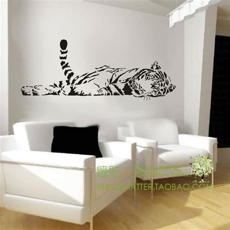 animal tiger relaxing wall sticker decoration fashion bedroom living waterproof sofa glass