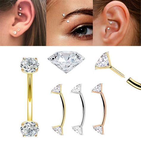diamond  push  curved barbell  rook eyebrow