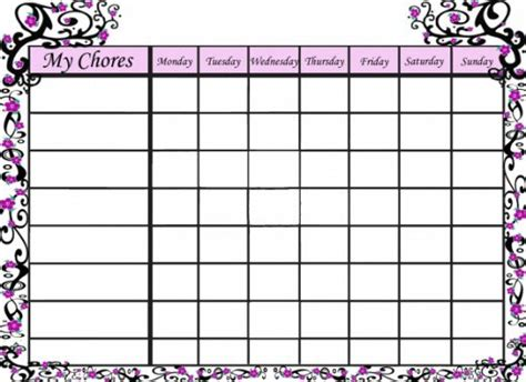 free chore chart free printable chore charts hubpages