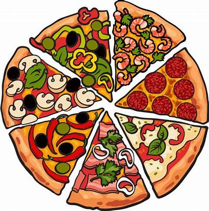 Pizza Background Pieces Slice Vector Various Illustration