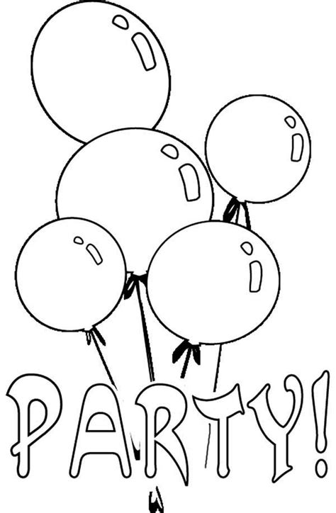Birthday Party Balloon Coloring Page : Coloring Sky
