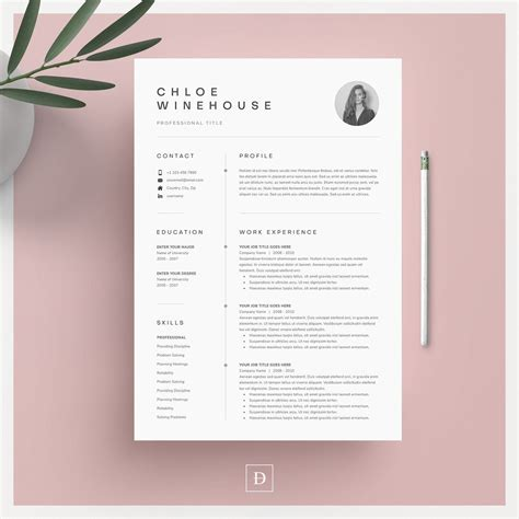 Resume Templates G by Clean Modern Resume Template 4 Page Cv Template Cover