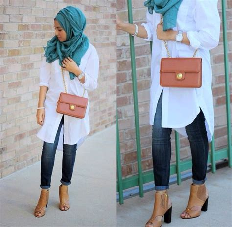 hijab summer outfit white shirt  jeans hijab fashion