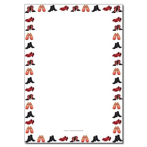 shoes themed page border writing frame  lined