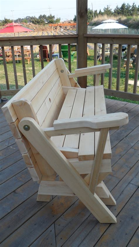 woodwork folding bench  picnic table combo plans  plans