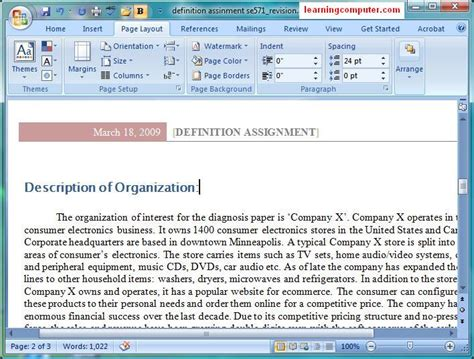 Layout Word by Microsoft Word 2007 Page Layout Tab