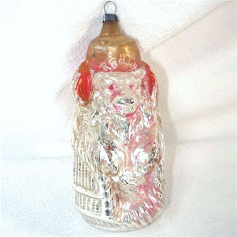 radio monkey antique german glass christmas ornament from