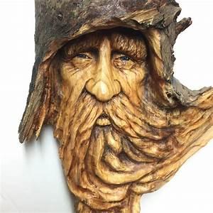 Wood Spirit Wood Carving Hand Carved Wood Art Original Art