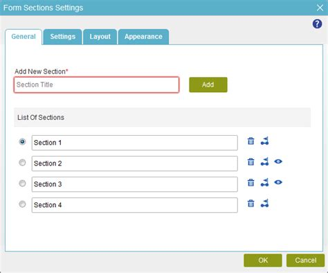 configure the sections for an eform