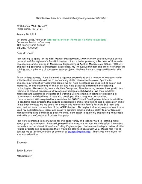 cover letter for engineering internship templates at