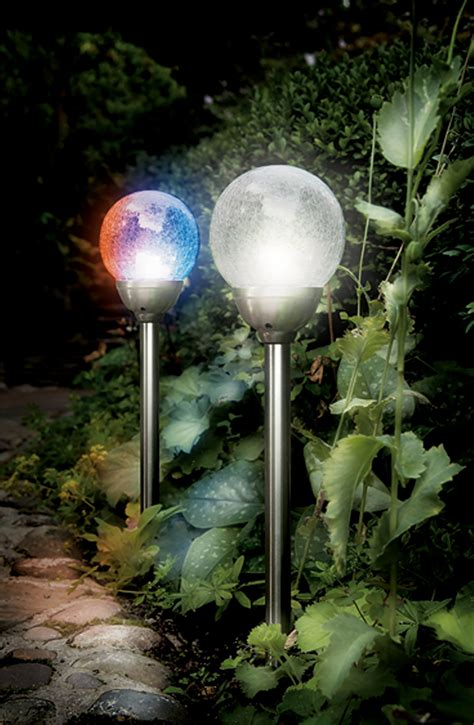 cole bright solar stainless steel ice orb border light