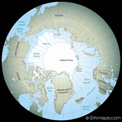 North Arctic Pole Earth Map Polar Ocean