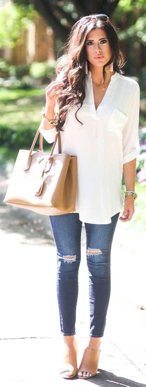 Best 25+ White tops ideas on Pinterest   Denim skirt Cute blouses for work and Denim dress ...
