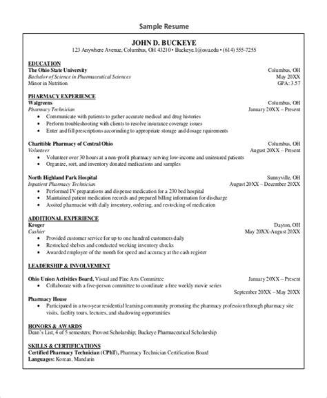 Technician Resume Format by Sle Pharmacy Technician Resume 7 Exles In Word Pdf