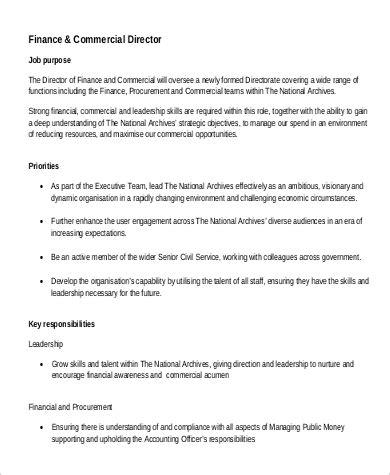 finance director job description sample  examples