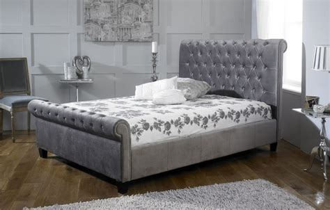 Silver Bed Frame by Limelight Orbit 4ft6 Plush Silver Velvet Fabric Bed