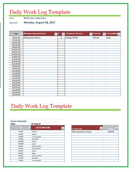 daily work log template free word templates