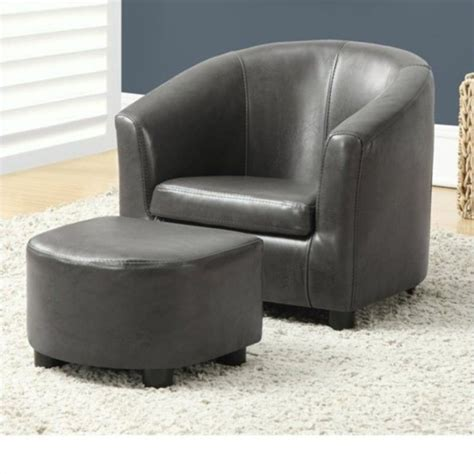 chair and ottoman set in charcoal gray faux leather