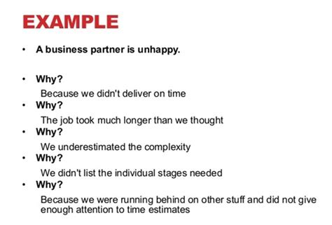 5 Why Dmaic Tools Exle Of 5 Whys Root Cause Analysis