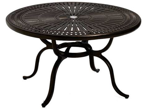 picnic table with umbrella hole tropitone kd spectrum cast aluminum 43 round chat table