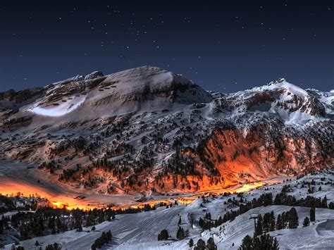 mountains landscapes snow night fire art photography