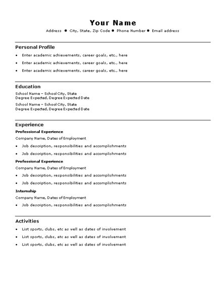 simple resume exles for college students best resumes