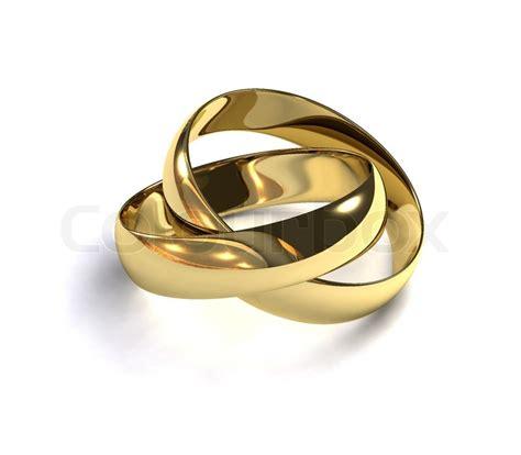 zwei goldene hochzeit ringe auf einem weissen hintergrund