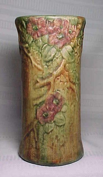 weller pottery woodcraft flemish floral tall vase