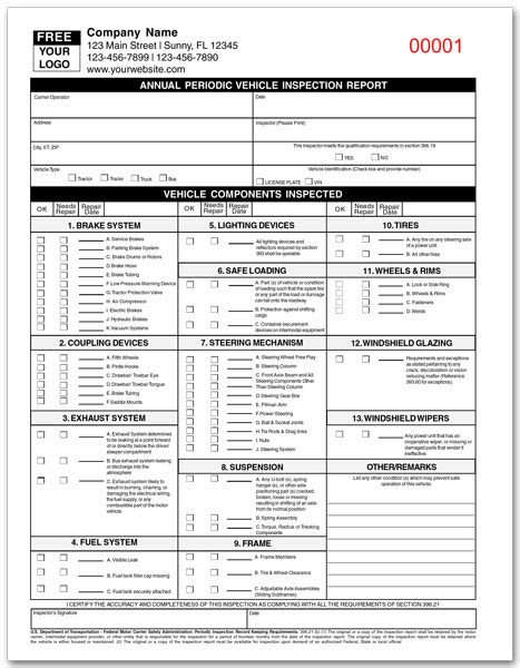 dot annual vehicle inspection form 11 best photos of dot inspection form vehicle