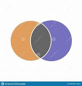 Venn Maths Vector Diagram  Color Modern Icon - White Background Stock Vector