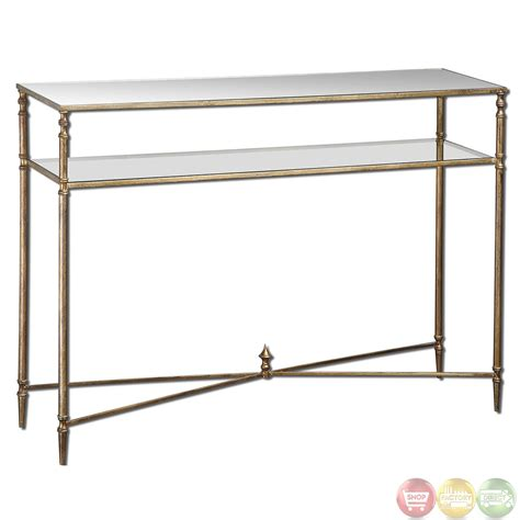long mirrored console table henzler vintage style mirrored glass console table 24278