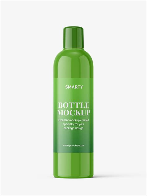 Sample design is not included in the download file. Glossy bottle mockup with rounded screwcap mockup - Smarty ...