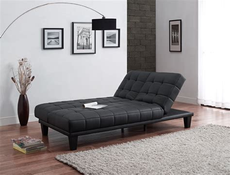 chaise cabriolet convertible futon sofa bed with chaise lounger black