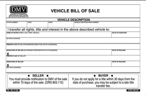 bill ofsale free oregon vehicle bill of sale form pdf template